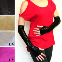 Black Metallic Arm Warmers