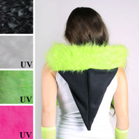 Black and Green Furry Pixie Hood