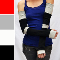 Extra Long Black and Grey Striped Cotton Arm Warmers