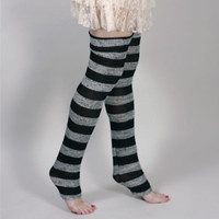 Grey Striped Sweater Knit Leg Warmers