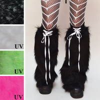 Black Fur Flared Corset Leg Warmers with Stash Pocket