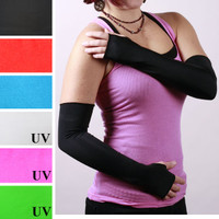 Long Black Shiny Arm Warmers