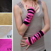 UV Reactive Metallic Pink Slashed Fingerless Gloves
