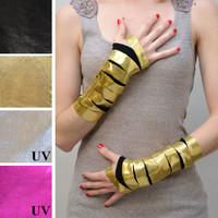 UV Reactive Metallic Gold Slashed Fingerless Gloves
