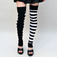Long White and Black Striped Circus Leg Warmers