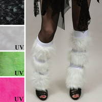 White Fur Striped Leg Warmers with Secret Pocket