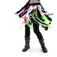 Neon Blacklight Reactive Fringe Festival Wrap Skirt