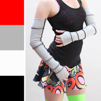 Long Grey Reconstructed Reversible Cotton Arm Warmers