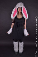 Adult White Fur Bunny Hat with Big Ears