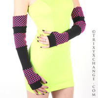 Black and Hot Pink Fishnet Extra Long Arm Warmers