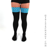 Blue and Black Skull Gothic Over The Knee Socks