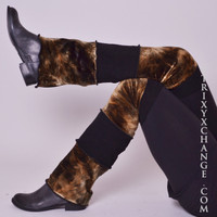 Black and Brown Tie Dye Flared Leg Warmers