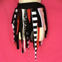 Red and Black Striped Circus Wrap Skirt - One Size