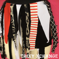 Red and Black Striped Circus Wrap Skirt