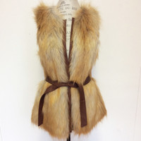 Sanctuary LA Brown Heavy Faux Fur Vest - Small