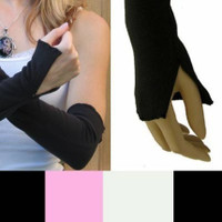 Black Cotton Flared Arm Warmers