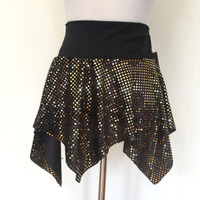 Black & Gold Sequin Velvet Pixie Mini Skirt - SOLD OUT!