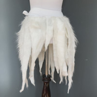 White Monster Fur Wrap Skirt - One Size