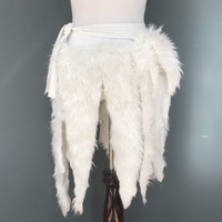 White Shaggy Fur Wrap Skirt - One Size