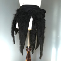 Black Monster Fur Wrap Skirt - One Size