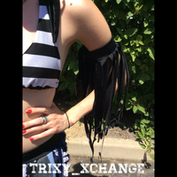Recycled Black Fringe Arm Cuff