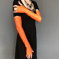 Long Orange Shiny Arm Warmers