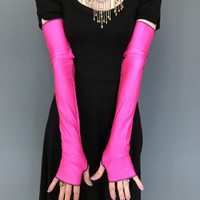 SALE - Long Pink Shiny Arm Warmers with Thumb Holes