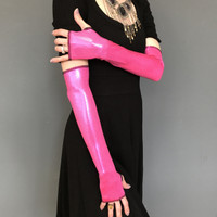 SALE - Pink Metallic Elbow Length Gloves