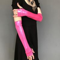 SALE - Pink Metallic Elbow Costume Gloves