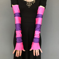 Long Pink and Purple Striped Costume Gloves