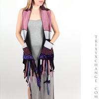 Pink & Purple Glitter Patchwork Scarf with Pockets
