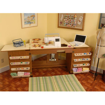 Arrow 98700 Bertha Oak Embroidery Machine Airlift Credenza With Quilting Extension