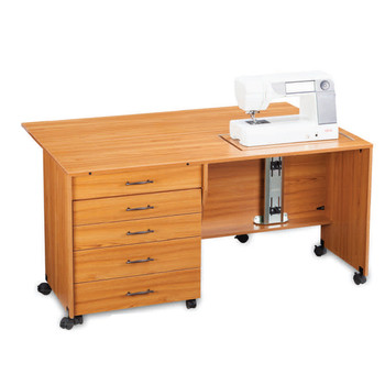 Model 1600 with upright drop-leaf and raised machine support. Optional 4-drawer cabinet not included.