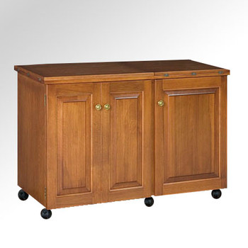 Schrocks of Walnut Creek Sewing Machine/Serger Duo Cabinet in Real Oak Wood and Birch Stain Closed