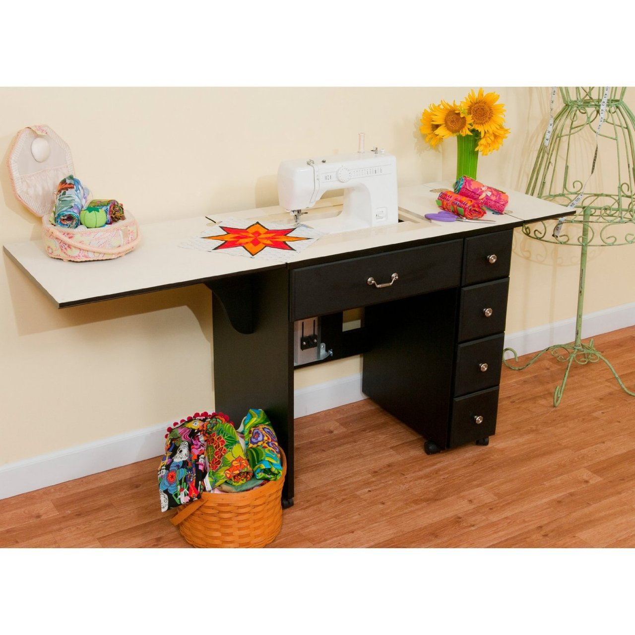 arrow auntie em black sewing cabinet