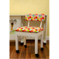 Arrow 6011 Chair In White Finish And Hexi Print Fabric
