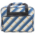Janome Sewing Machine Tote in Blue and Gray Plaid Pattern