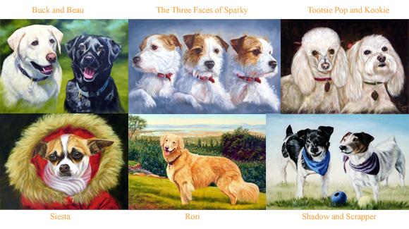 These are some examples of completed commissioned dog portraits