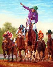A Giclee canvas print of California Chrome winning the Kentucky Derby