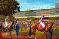 The Calm Before the Race - horseracing giclee canvas print