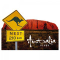 Kangaroo road sign & Uluru, a great Australian souvenir magnet.