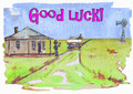 A good luck message on an outback greeting card.