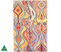 A colourful cotton teat towel. Australian made with an Australian Indigenous art design.