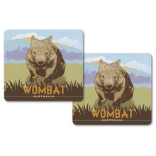 Two non-slip drink coasters with a wombat design. Australian made.
