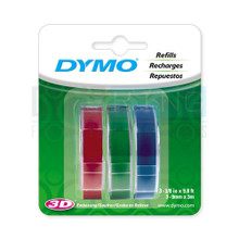 Dymo Embossing Tape 9mmx3M red green blue 3PK by DymoOnline