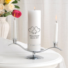 Two Hearts in White Candle with Silver Stand