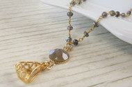 [Sample] Labradorite Necklace with Quartz Gemstone