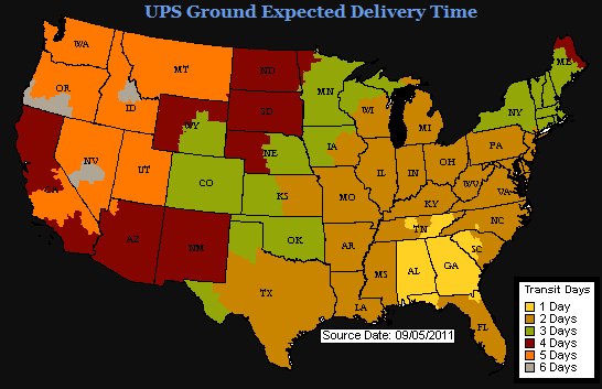 As you can see, we can get parts to the southern states within 1 or 2 days with UPS Ground