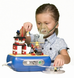 Photo of a girl wearing a nebulizer mask