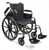 "Everest & Jennings Traveler L4 Wheelchair - 18"" x 16"" with Flip-Back Full Arms and Swingaway Footrests"